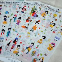 6 sheet girls sweet season 2 diary calendar photo album transparent stickers
