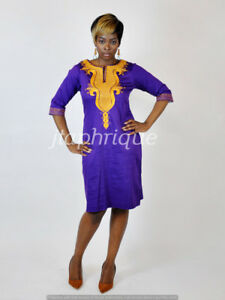 purple  Ladies  Polished Cotton With Gold Embroidery,African clothing-wedding