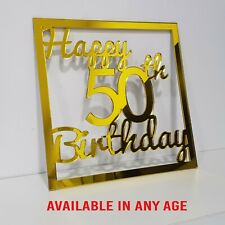 Personalised Wooden Name Hoop Birthday Sign Any Age Plaque Acrylic Mirror Decor