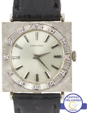 Vintage Ladies Longines 18K White Gold Silver Diamond Swiss 25m Mechanical Watch
