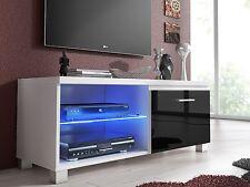 Meuble de télévision LED, Salon-Salle à manger,Blanc et Noir Laqué 100 x 40 x 42