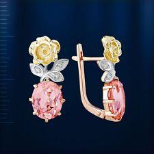 Russische dreifarbiges Gold 585 Ohrringe mit rosa Morganit und CZ NEU Glänzend