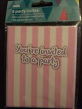 8 You're Invited To A Party Invites & Envelopes. Birthday, Sleepover. Pyjama