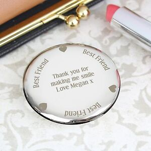 Personalised Engraved Best Friend Compact Mirror: Birthdays, Wedding, For Her