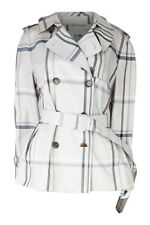 COACH Women's Cream Double Breasted Belted Checked Trench Coat (L)
