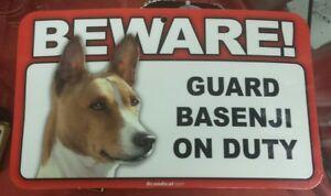 Laminated Card Stock Sign- Beware! Guard Basenji On Duty