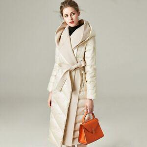 Winter Puffer Jacket Duck Down Coats Women Long Detachable Outwear Hood 38726