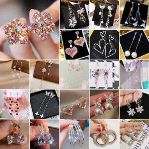 Fashion Women Zircon Tassel Flower Heart Earrings Drop Dangle Gifts Wholesale