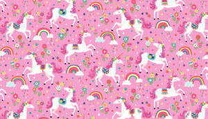 Makower DAYDREAM - Unicorns Pink FABRIC CRAFT/QUILTING per Fat Quarter