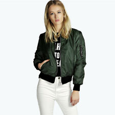 New Stylish Womens Ladies Classic Padded Bomber Jacket Vintage Zip Up Biker Coat