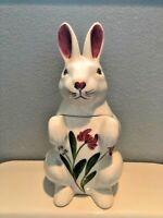 Vintage N.S. Gustin Rabbit Cookie Jar Hand Decorated Floral Decor
