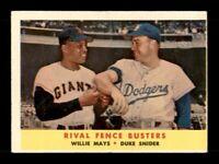 1958 Topps Set Break #436 Willie Mays Duke Snider Fence Busters VG-EX *OBGcards*