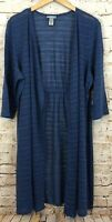 Catherines cardigan duster womens 2X new open front blue stripe lightweight AB