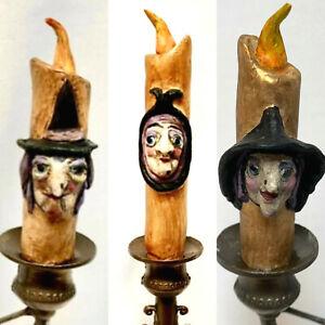 Hand Made Halloween Hocus Pocus Candle On Candelabra Folk Art OOAK