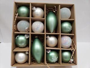 CHRISTMAS White Pine Coastal Green Snowflake White Glass Tree Ornaments Decor