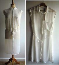 New PARAPHRASE White Shirt Dress Sheer See Through Size 14