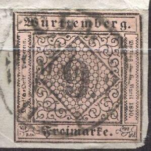Wuerttemberg 4, 9 Kr, Topstueck !  Briefstueck gestempelt  #a631