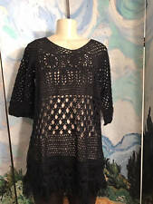 Denim 24/7 L New Black Open Weave V-Neck Fringe Trim 3/4 Sleeve Tunic Sweater