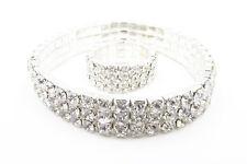 New Sparkling 3 Row Silver Crystal Rhinestone Bracelet & Ring Set #3ROWBCLT-RING