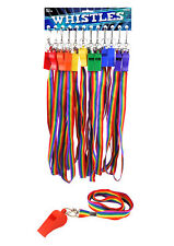 UNISEX PLASTIC WHISTLE WITH RAINBOW CORD GAY PRIDE LGBT FESTIVAL RAVE CARNIVAL