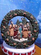 "Vintage Christmas Wreath With Carolers Singing  12"" plastic"