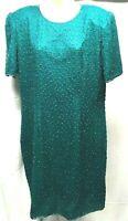 SILK BEADED EVENING DRESS GOWN  SIZE 14 WOMEN'S Green Beaded Christmas