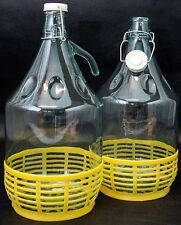 6X 5L Weinballon Glasballon mit Schraubverschluß Glasflasche mit Korb Gärballon