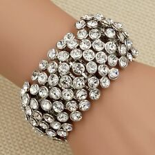 Rhodium Plated Clear Crystal Wedding Bangle Cuff Stretch Bracelet 00205 Prom