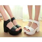 New Woman Summer Peep Toe Block Heel Creeper Sandals Wedge High Platform Shoes