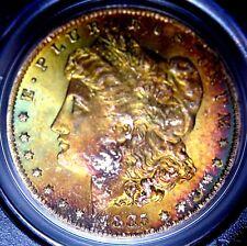 1885-O Morgan Dollar MS63 PCGS Monster Rainbow Obverse Lightly Toned Reverse OGH