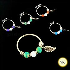 9K Yellow Gold Opal Stones with Leaf Hoop Nose Rook Helix Snug Ring 22G 8mm