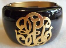 Large Massive Monogram Black Designer Magnetic Bangle Bracelet Stunning Vintage