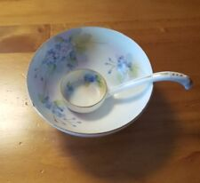 Nippon Porcelain China Mayonnaise Bowl with Spoon and Hand Painted flaw*