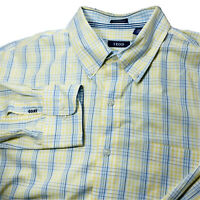 Izod Mens Long Sleeve Button Down Dress Shirt Yellow Blue Plaid Size Large