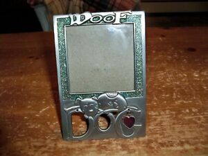 """Pewter DOG Picture Frame -- WOOF -- 3"""" x 3"""" -- Sparkle Bling Border"""