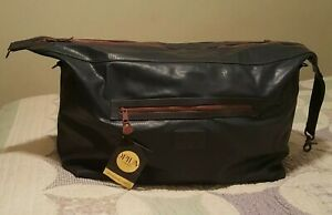 "NEW 21"" VINTAGE YSL OPIUM FOR MEN Navy Blue/Rust Leather Duffel Travel Bag"