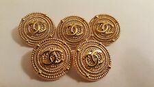 Chanel CC Logo Replacement Metal Gold Buttons 1 inch (25mm) Set of 5