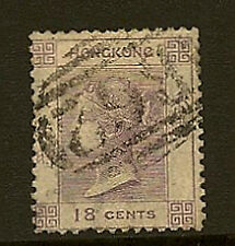HONG KONG : 1863 Crown CC 18c lilac used SG 13