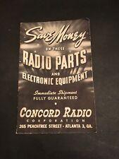 Concord Radio Catalog Vintage Atlanta Georgia memorabilia  265 Peachtree Street