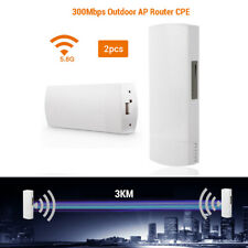 2x 300Mbps WiFi Wireless Outdoor CPE Access Bridge Range Signal Repeater Antenna