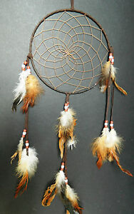 LARGE 20cm BROWN TRADITIONAL APACHE INDIAN STYLE DREAM CATCHER DREAMCATCHER