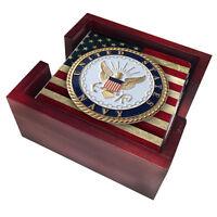 NAVY LOGO SANDSTONE USA FLAG 4 PIECE WOOD COASTER SET MADE IN USA