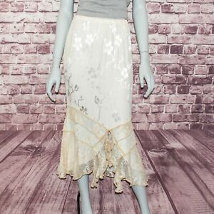 Spencer Alexis Peties Women's Maxi Skirt Biege Floral Size P M Made in USA