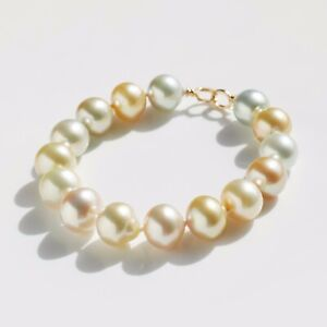 """Baroque 10.8-12MM Multi-Color South Sea Pearl Bracelet 14K Yellow Gold,8"""""""
