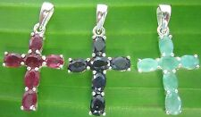 REAL925 sterling silver REAL STONE Ruby-Sapphire-Emerald CROSS Pendant MEN WOMEN