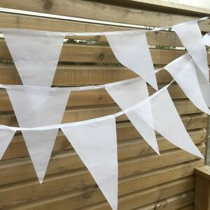 Wedding Bunting - Luxury white fabric bunting 90ft 100 flags Free 1st Class Post