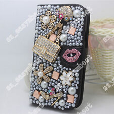 Stand phone Cover Bling Crystal Rose Flower Wallet PU Leather Case For iPhone