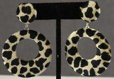 Costume Jewelry Faux Fur Fabric Leopard Print Silver Tone Pierced Earrings