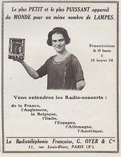 Publicité TSF Poste Radio OYER & Cie  Le plus petit  vintage photo ad  1924 -2h