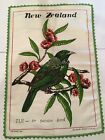 New Zealand TUI Or Parson Bird Natural Linen Dishtowel Tapestry Wall Hanging
